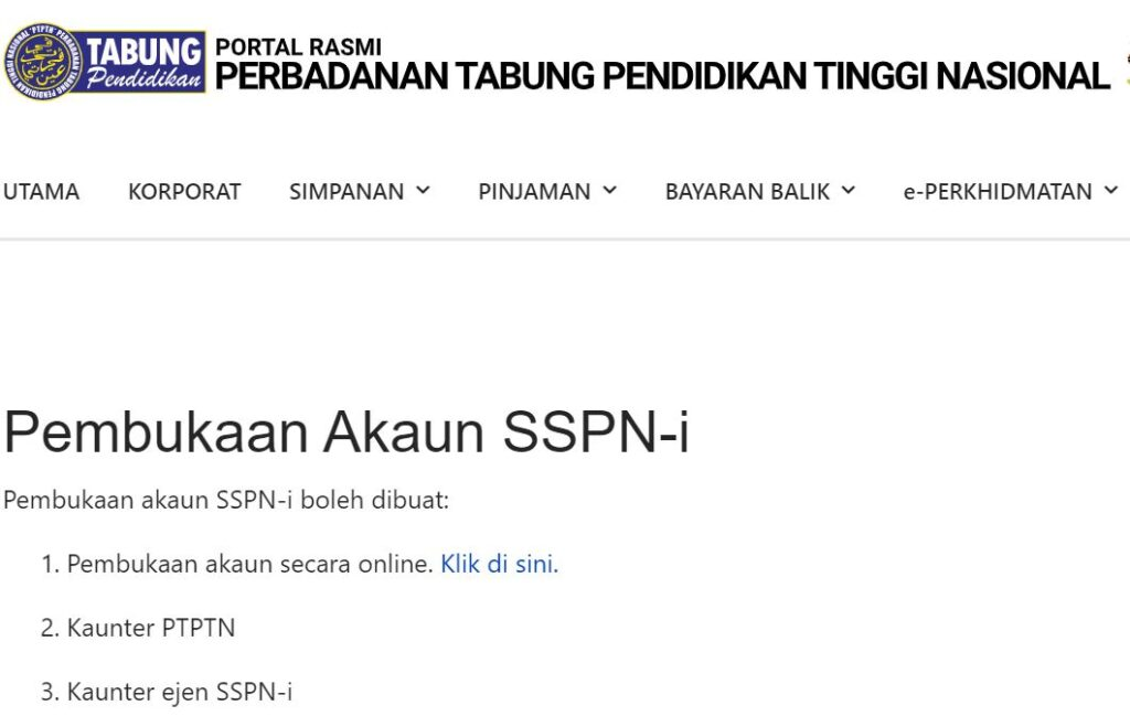 SSPN Account opening