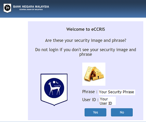eCCRIS Security Phrase n Pic