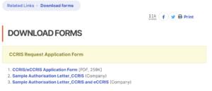 eCCRIS form